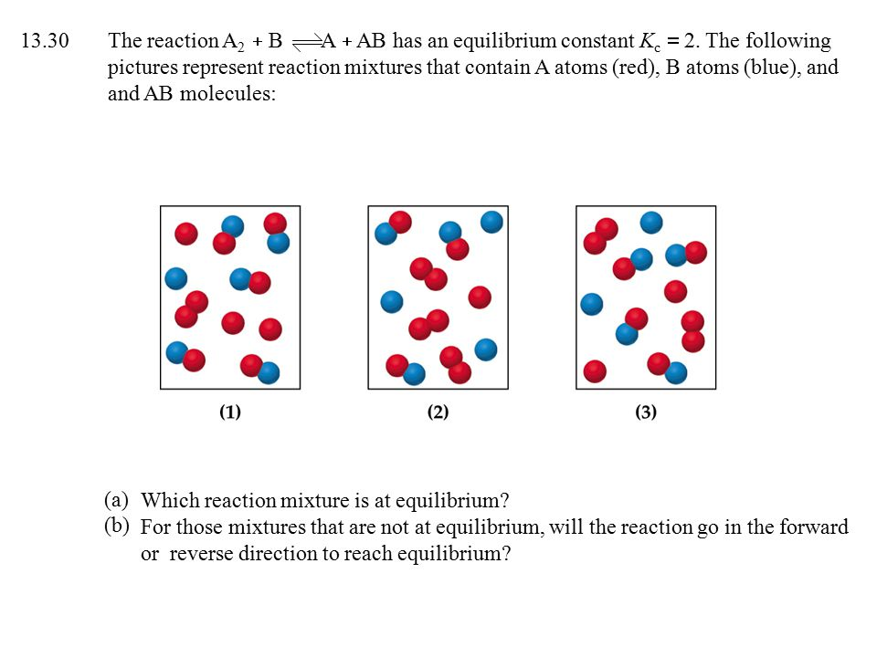 13. 30. The reaction A2 + B A + AB has an equilibrium constant Kc = 2