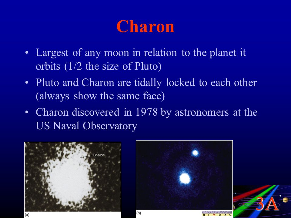 Charon Largest of any moon in relation to the planet it orbits (1/2 the size of Pluto)
