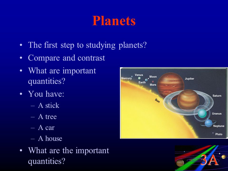 Planets The first step to studying planets Compare and contrast