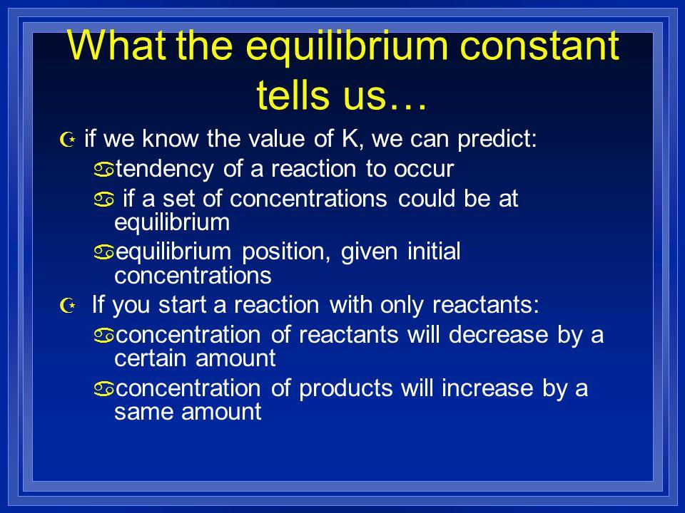 What the equilibrium constant tells us…