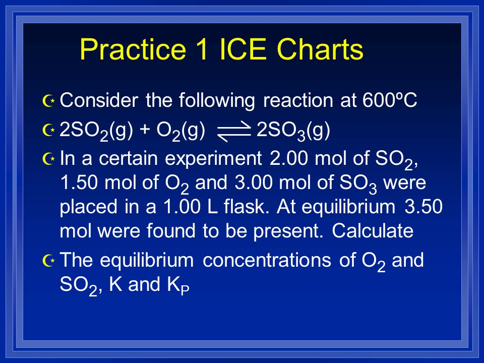 Practice 1 ICE Charts Consider the following reaction at 600ºC
