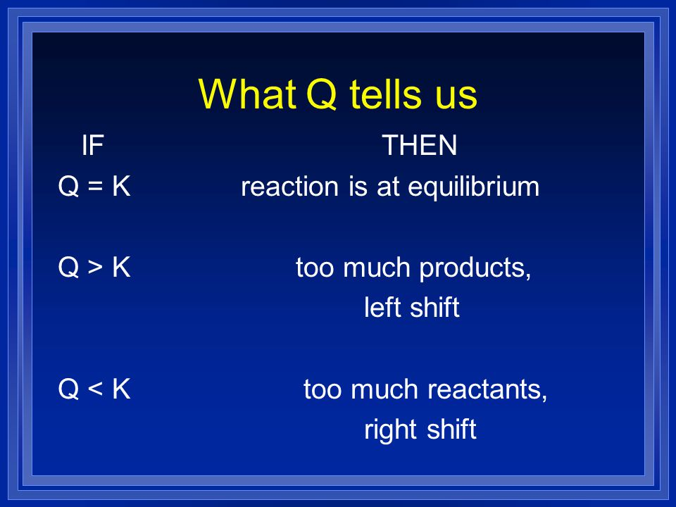 What Q tells us IF THEN Q = K reaction is at equilibrium
