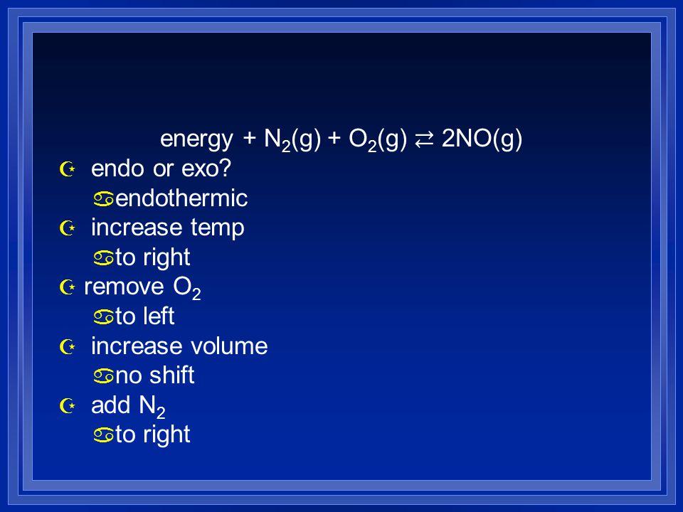 energy + N2(g) + O2(g) ⇄ 2NO(g)