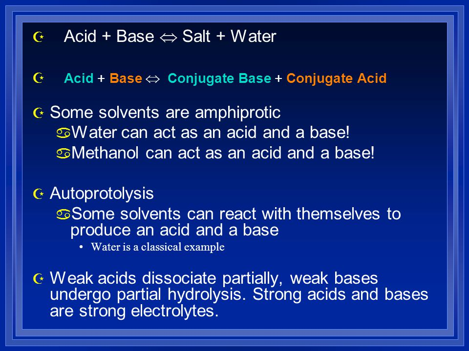Acid + Base  Salt + Water
