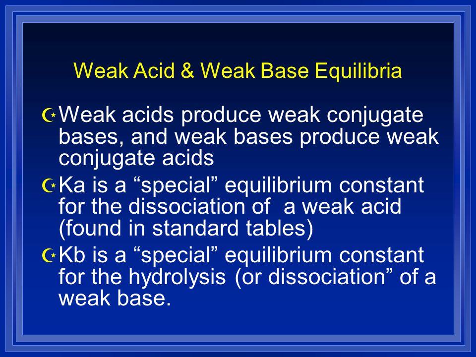 Weak Acid & Weak Base Equilibria