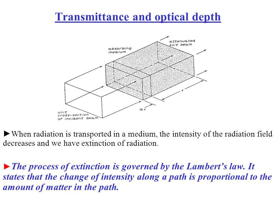 Transmittance and optical depth