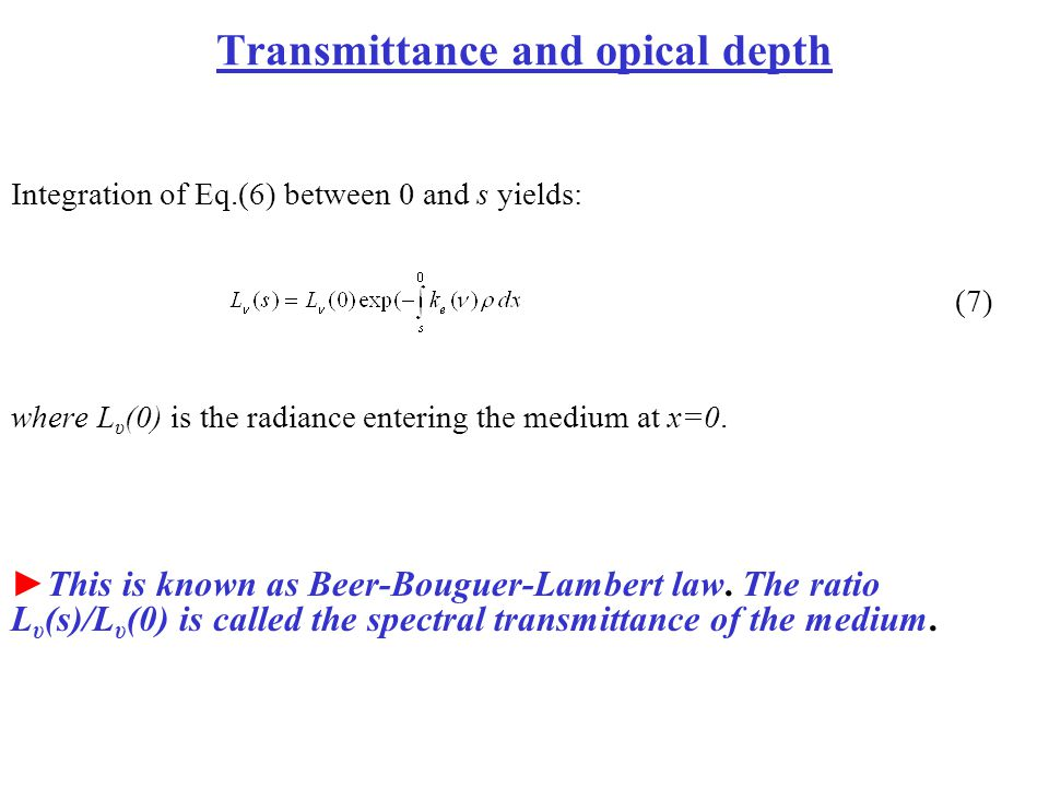 Transmittance and opical depth