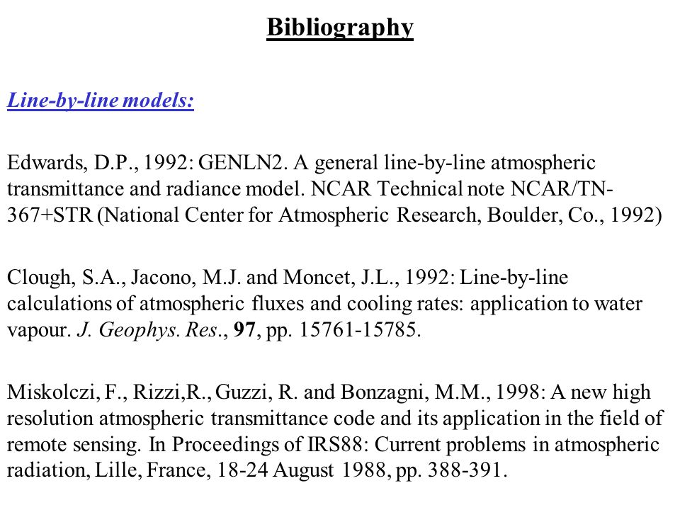 Bibliography Line-by-line models:
