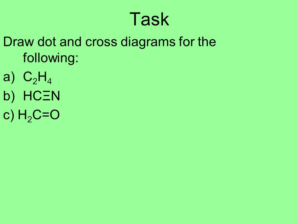 Task Draw dot and cross diagrams for the following: C2H4 HCΞN c) H2C=O