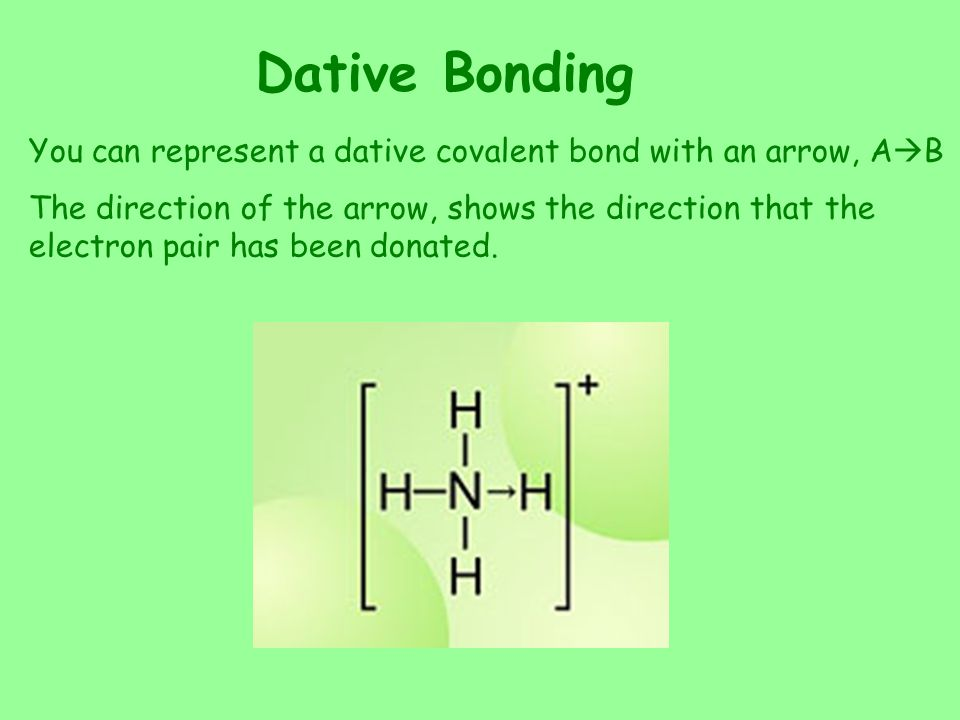 Dative Bonding You can represent a dative covalent bond with an arrow, AB.