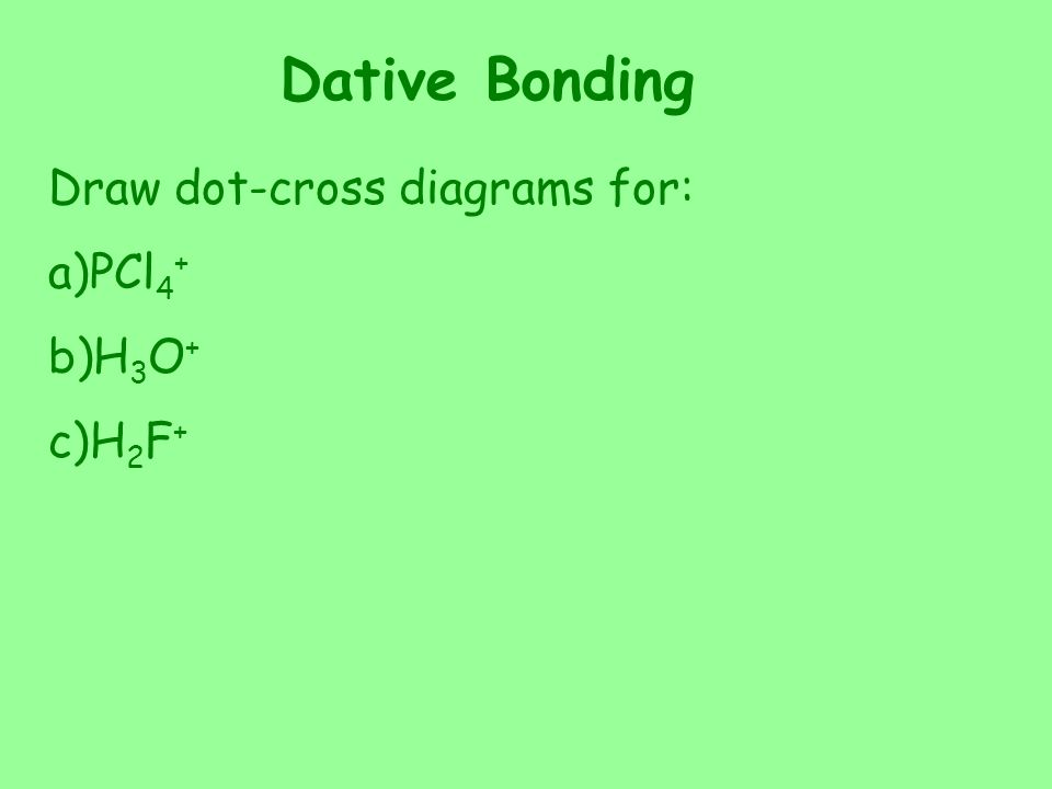 Dative Bonding Draw dot-cross diagrams for: PCl4+ H3O+ H2F+