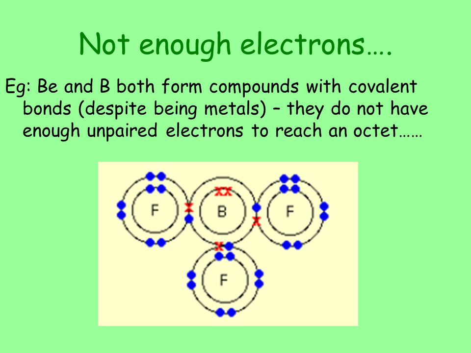 Not enough electrons….