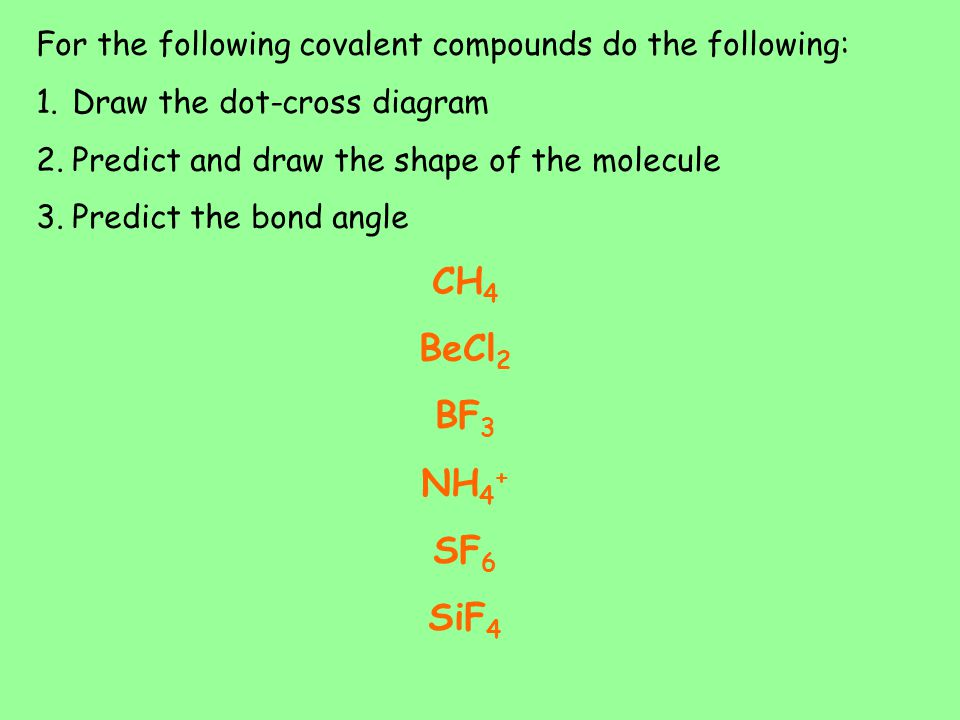 For the following covalent compounds do the following: