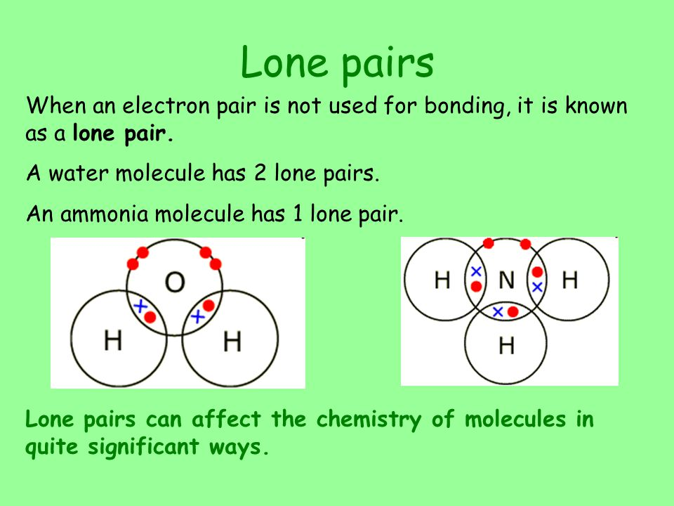 Lone pairs When an electron pair is not used for bonding, it is known as a lone pair. A water molecule has 2 lone pairs.