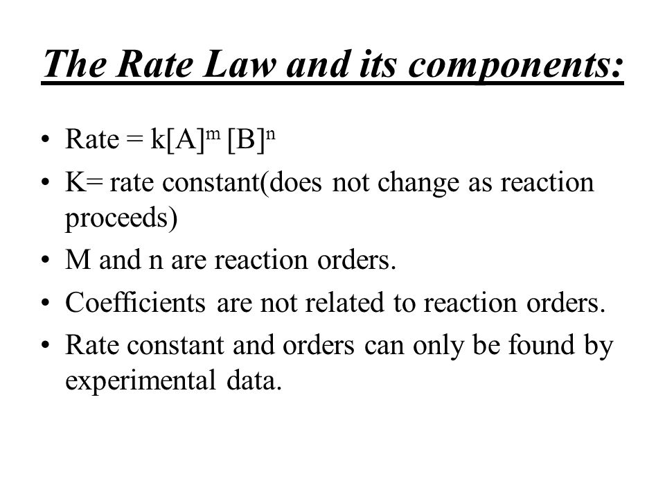 The Rate Law and its components:
