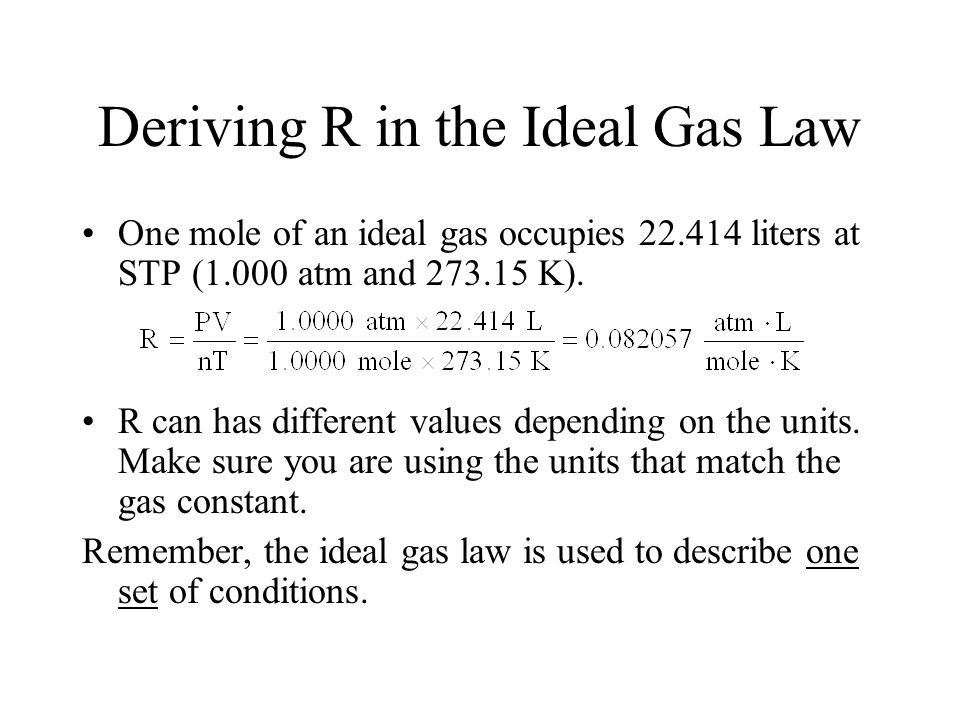 Deriving R in the Ideal Gas Law