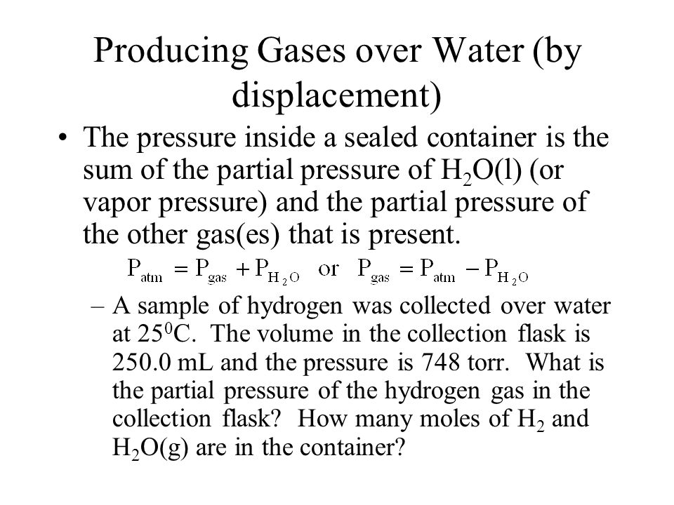 Producing Gases over Water (by displacement)