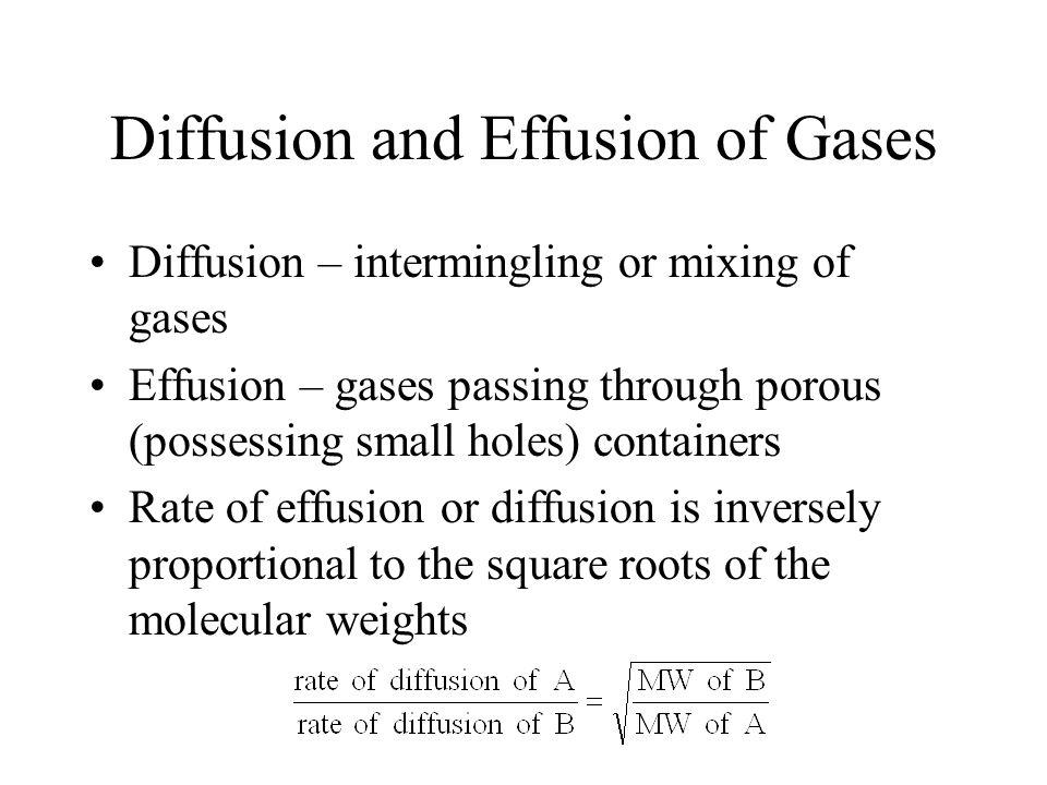 Diffusion and Effusion of Gases