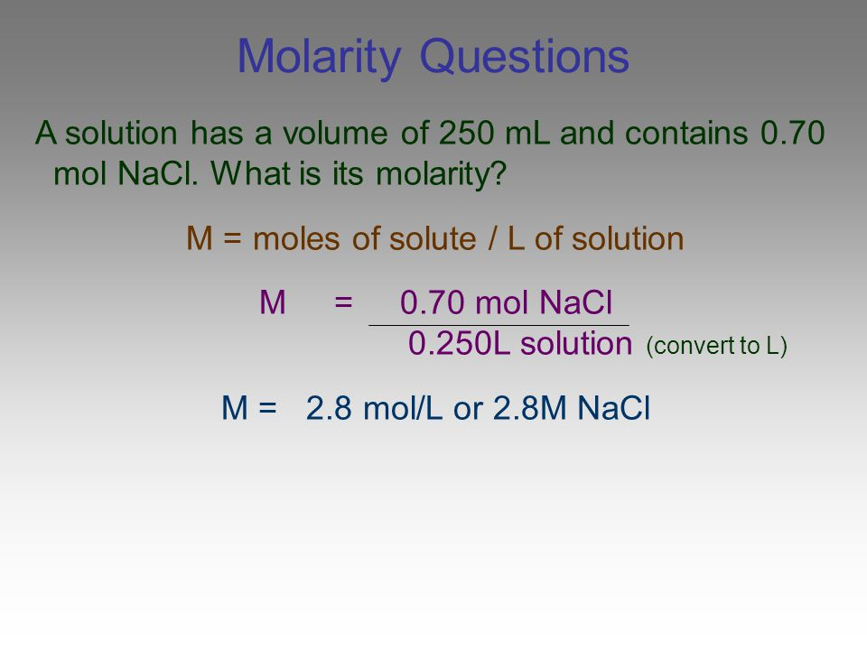 M = moles of solute / L of solution