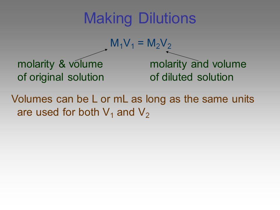 Making Dilutions M1V1 = M2V2 molarity & volume molarity and volume