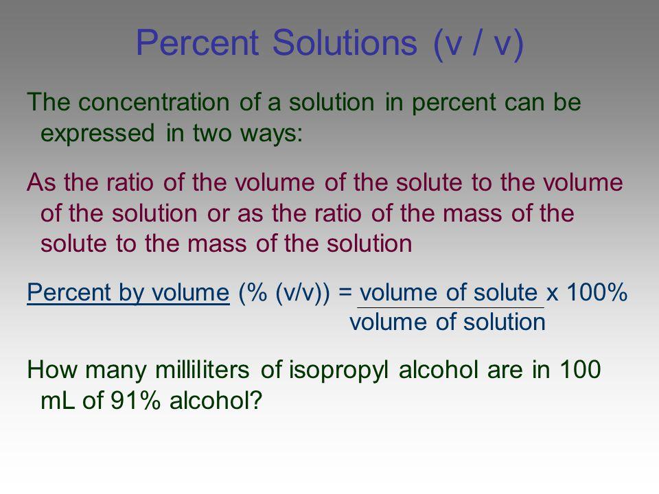 Percent Solutions (v / v)