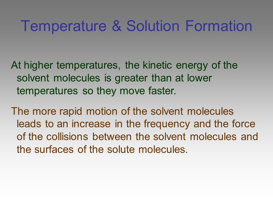 Temperature & Solution Formation
