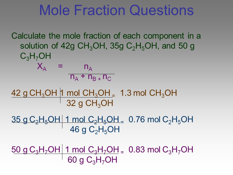 Mole Fraction Questions