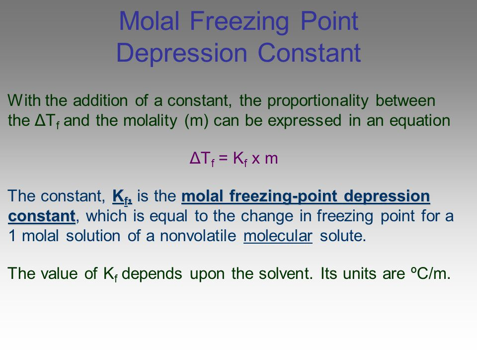 Molal Freezing Point Depression Constant