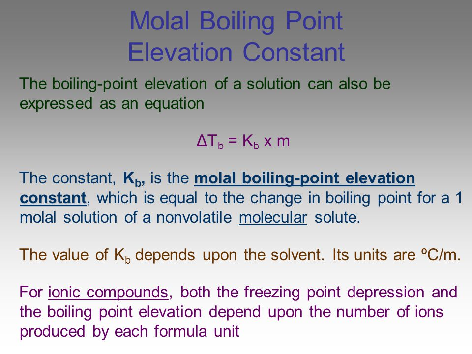 Molal Boiling Point Elevation Constant
