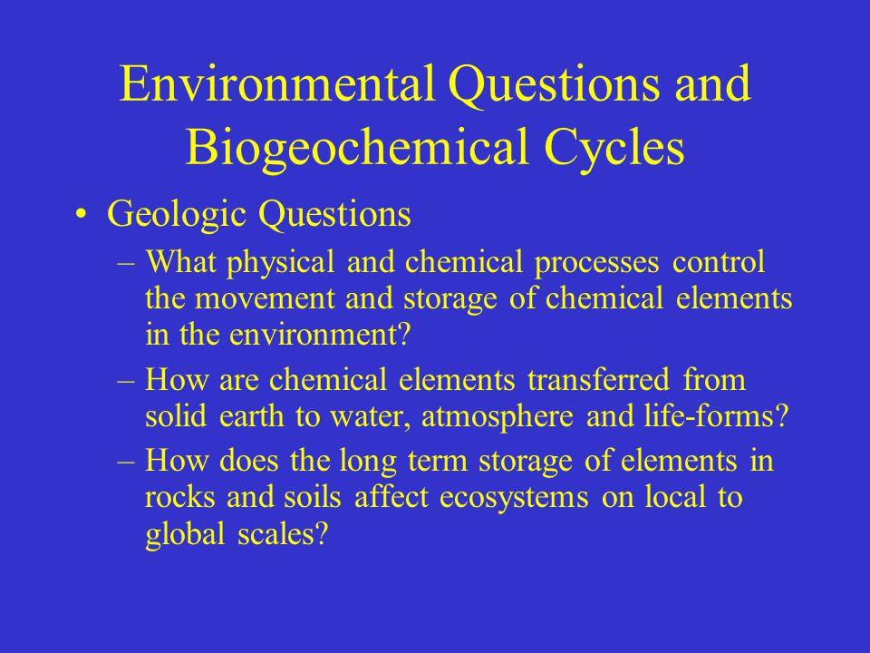 Environmental Questions and Biogeochemical Cycles