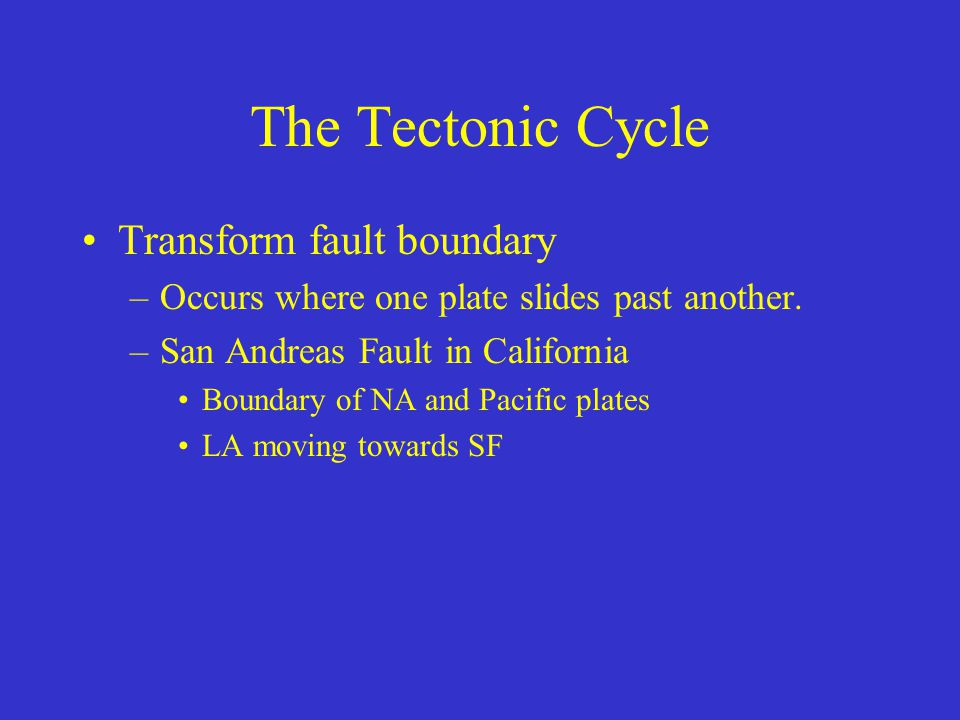 The Tectonic Cycle Transform fault boundary