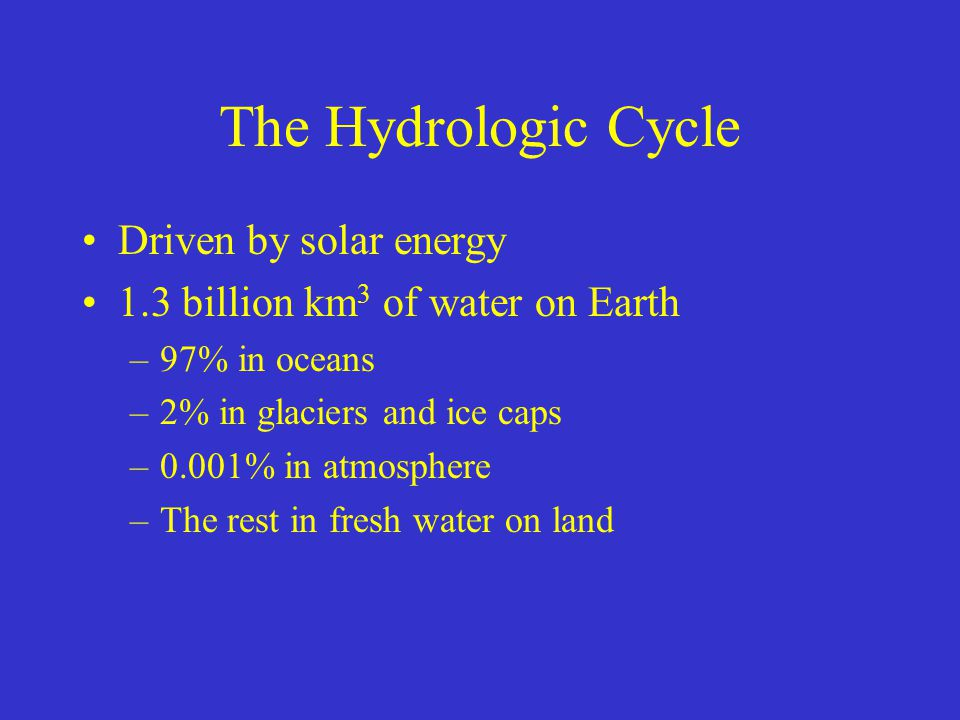 The Hydrologic Cycle Driven by solar energy