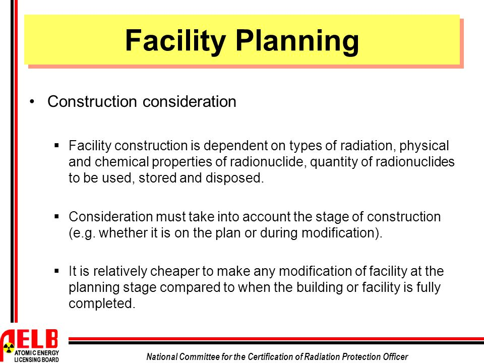 Facility Planning Construction consideration