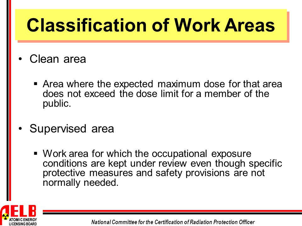 Classification of Work Areas