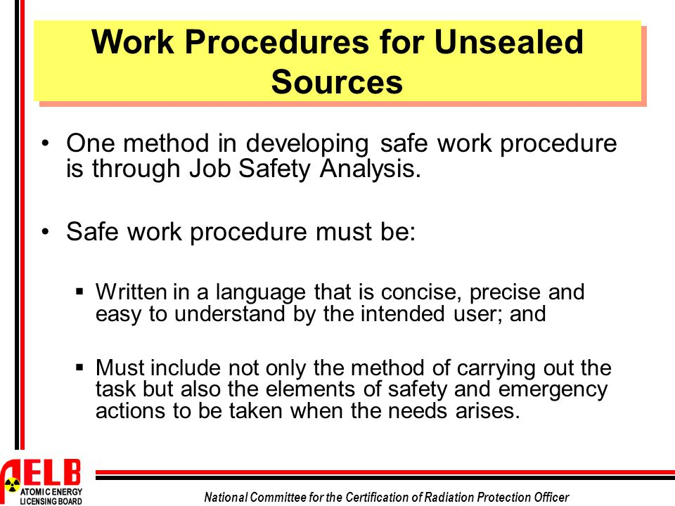 safe work procedure essay Workplace housekeeping - basic guide close all knowing the plant layout and the movement of materials throughout the workplace can help plan work procedures worker training is an.
