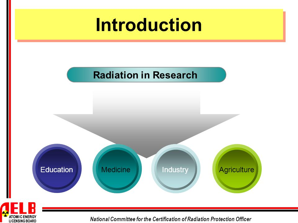 Introduction Radiation in Research Education Medicine Industry