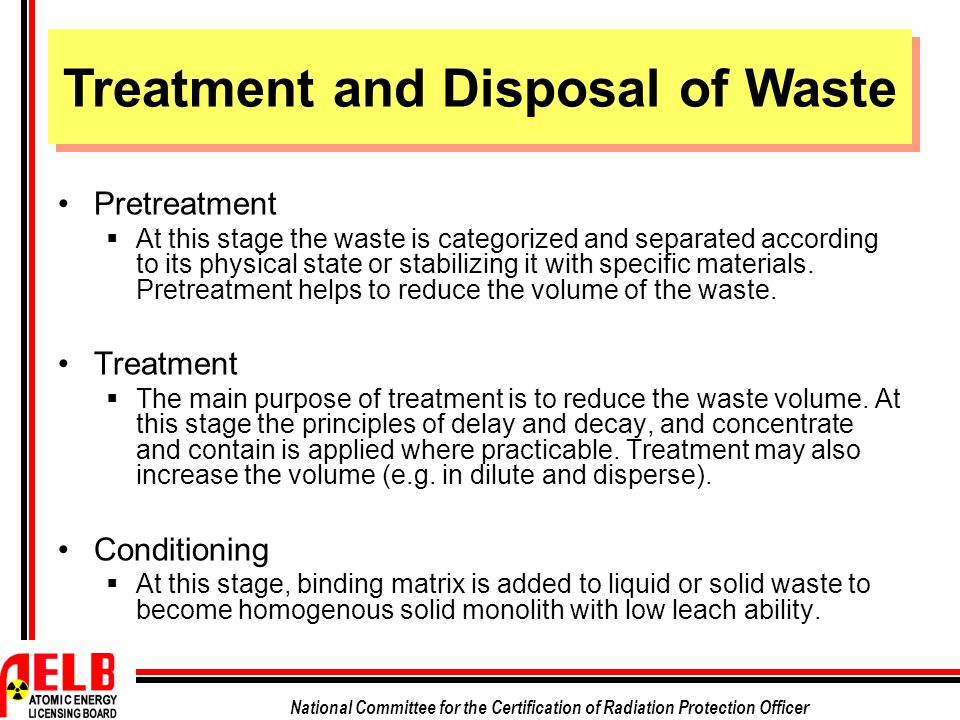 Treatment and Disposal of Waste