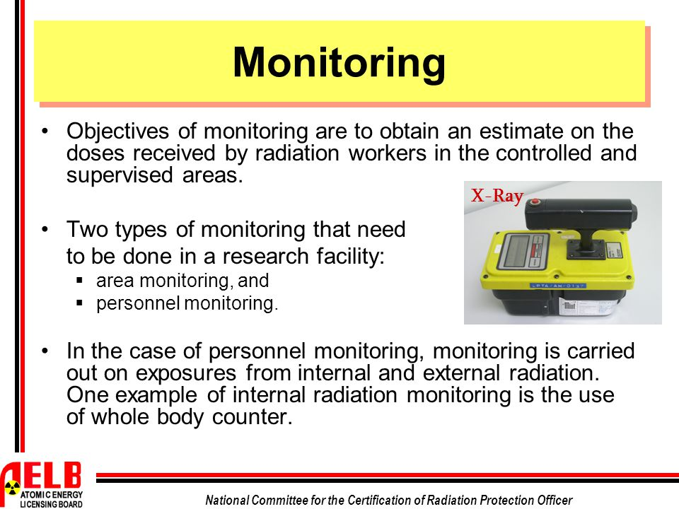 Monitoring Objectives of monitoring are to obtain an estimate on the doses received by radiation workers in the controlled and supervised areas.
