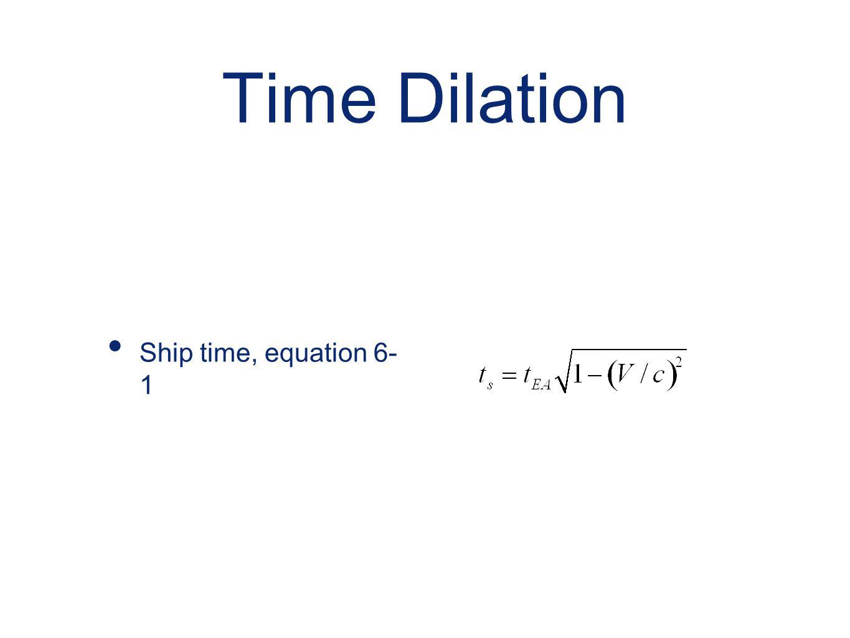 Time Dilation Ship time, equation 6- 1