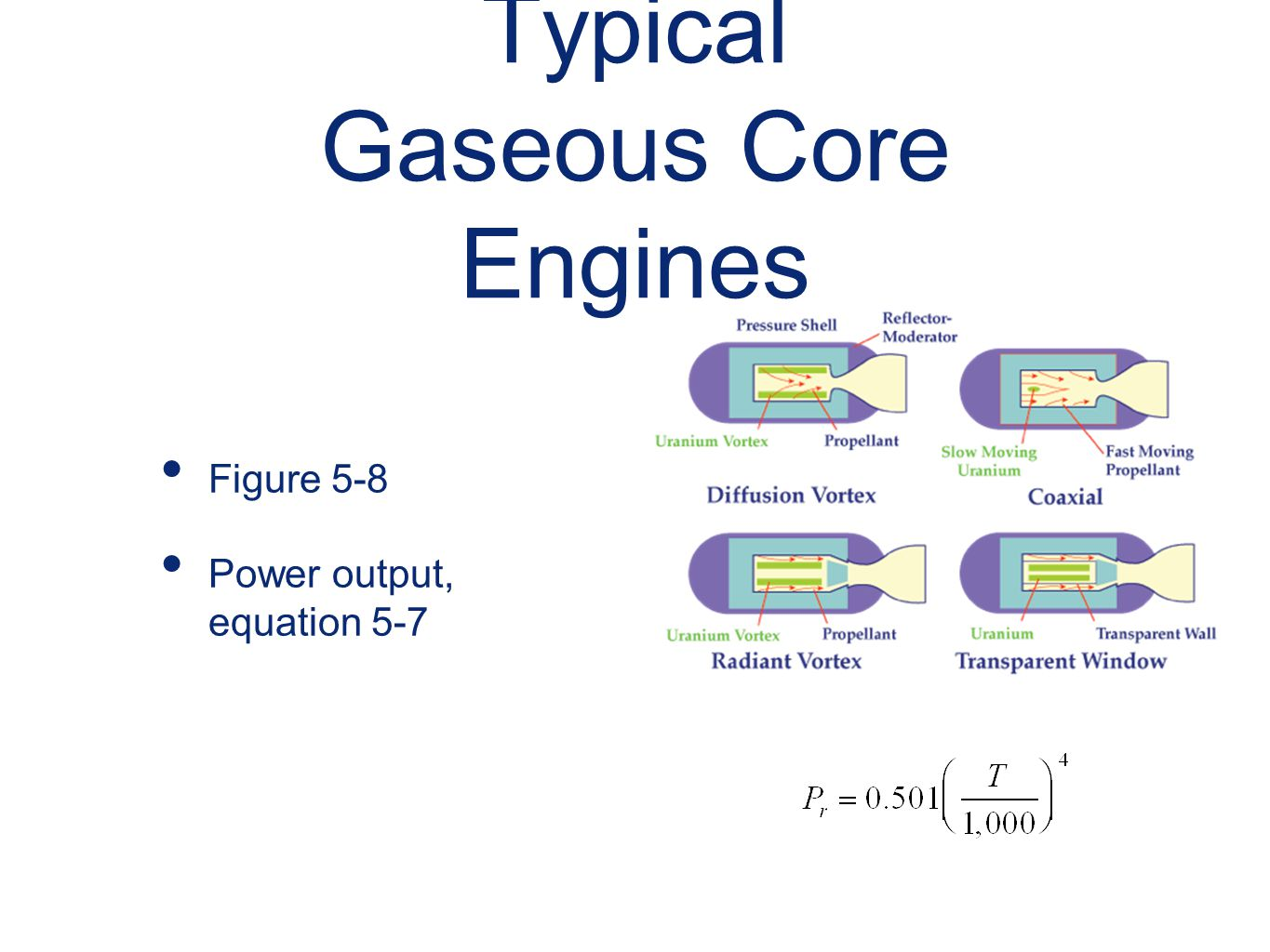 Typical Gaseous Core Engines