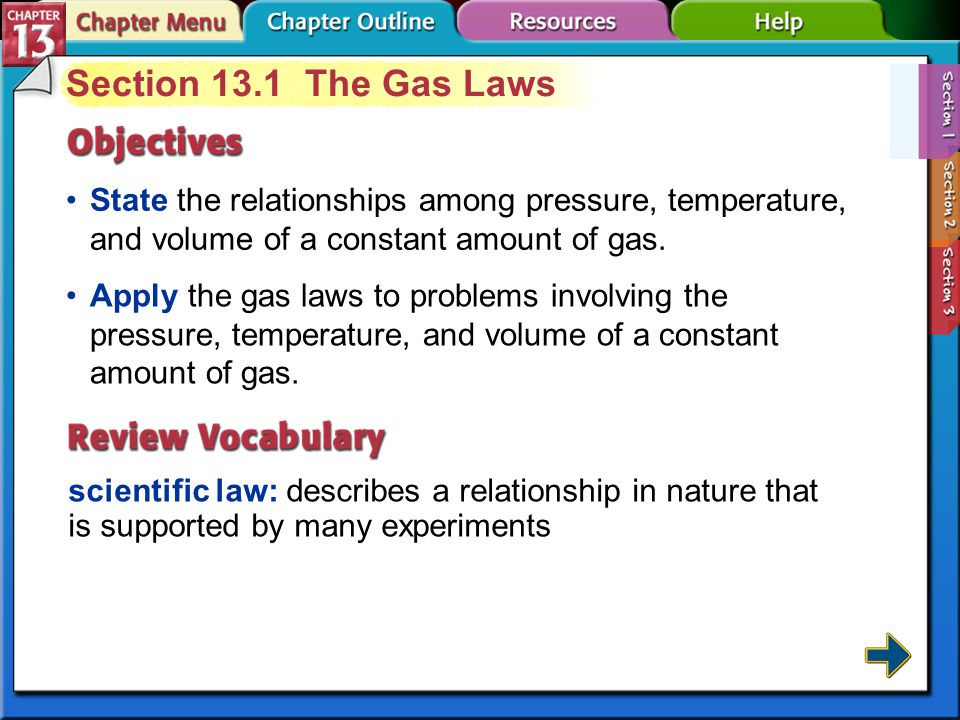 Section 13.1 The Gas Laws State the relationships among pressure, temperature, and volume of a constant amount of gas.
