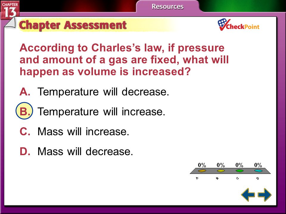 According to Charles's law, if pressure and amount of a gas are fixed, what will happen as volume is increased
