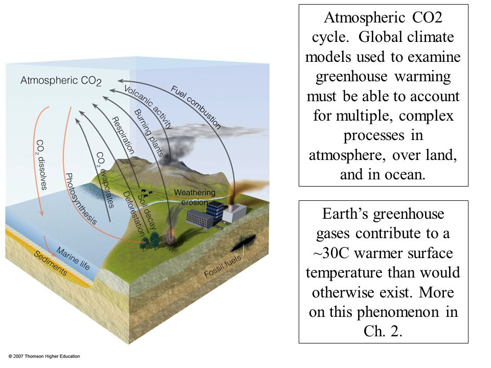 Atmospheric CO2 cycle. Global climate models used to examine greenhouse warming must be able to account for multiple, complex processes in atmosphere, over land, and in ocean.