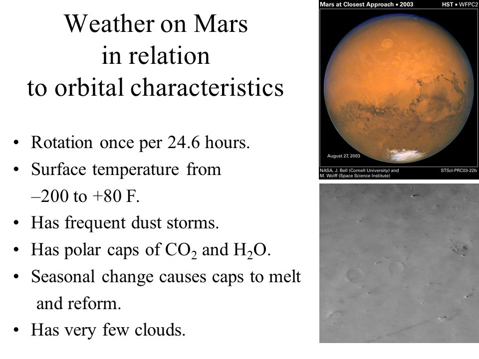 Weather on Mars in relation to orbital characteristics