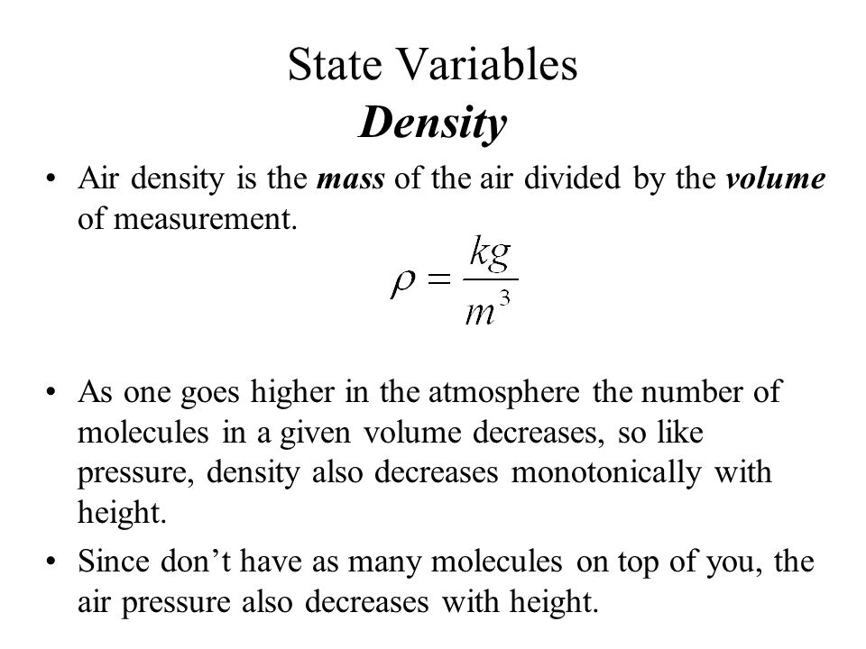 State Variables Density