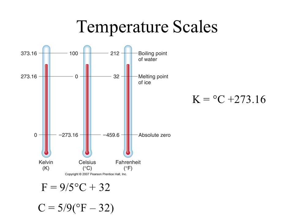 Temperature Scales K = °C +273.16 F = 9/5°C + 32 C = 5/9(°F – 32)