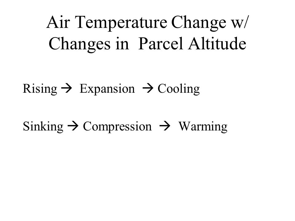 Air Temperature Change w/ Changes in Parcel Altitude