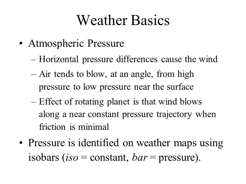 Weather Basics Atmospheric Pressure