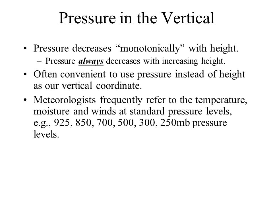 Pressure in the Vertical