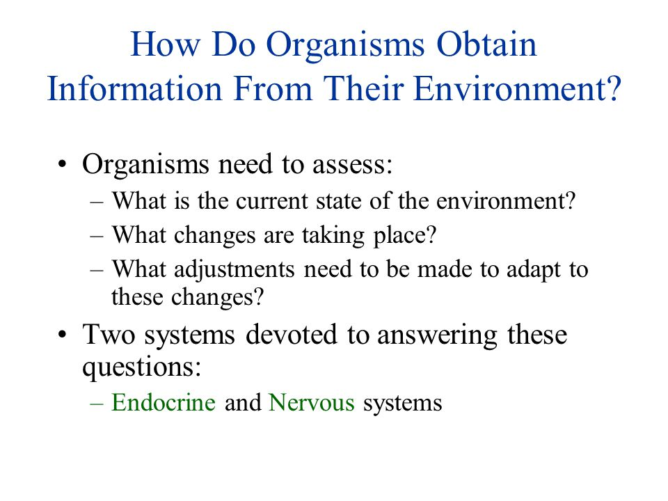 How Do Organisms Obtain Information From Their Environment
